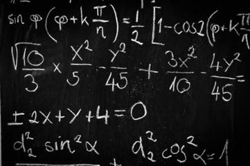 Blackboard with mathematics