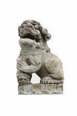 Stone lion statue with a white background
