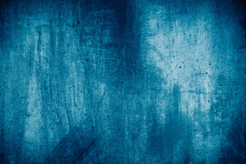 Blue grunge wall texture useful as background