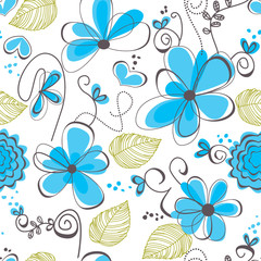 Spoed Fotobehang Abstract bloemen Floral seamless pattern