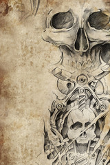 Wall Mural - Tattoo pattern with evil designs over antique paper