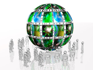 Man with picture sphere