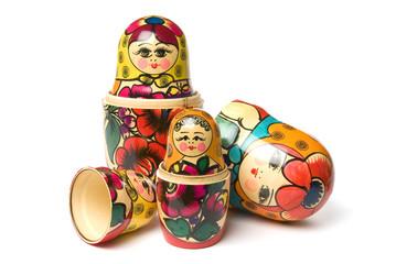 Russian Babushka or Matryoshka Dolls on white background