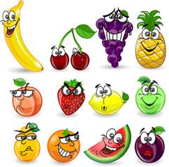 Мультфильм апельсин, банан, яблоко, лимон, арбуз, малина, ананас
