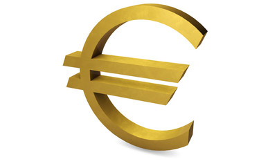 Gold euro currency - white background