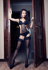 Young sexy girl in lingerie stand in front door