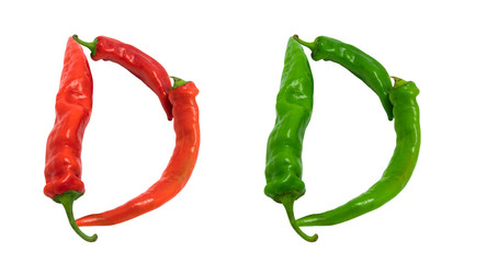 Letter D composed of chili peppers