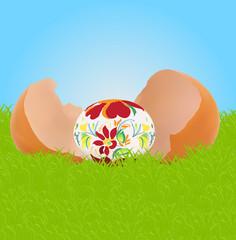 Easter egg in broken shell