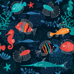 Poster Submarine seamless pattern with fishes