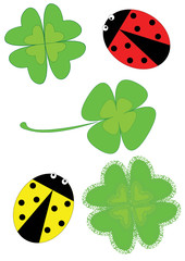 Spoed Fotobehang Lieveheersbeestjes Clovers and Ladybugs