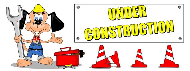 Cartoon dog and tools with under construction sign billboard