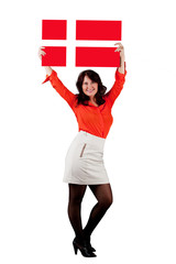 Woman with  Danish flag