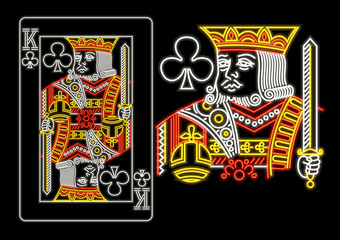 King of Clubs in neon