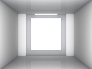 empty room with blank banner