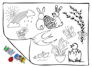 Hand drawn easter vector doodles