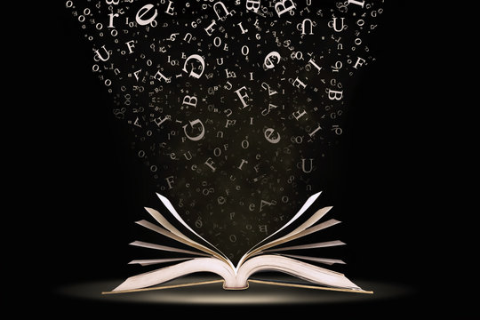 A book with falling letters
