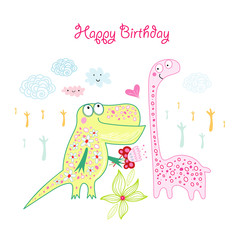 Greeting card with Dinosaurs