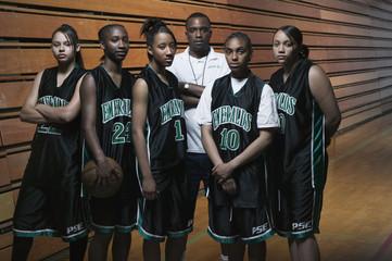 Portrait of girls basketball team