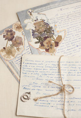 Vintage handwritten letters with herbarium and earrings