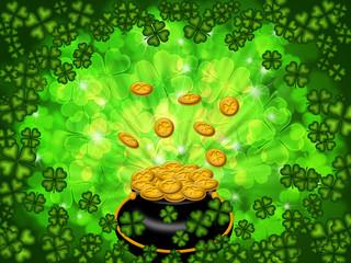 Pot of Gold on Shamrock Four Leaf Clover Background