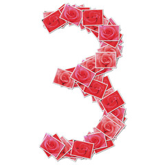 Number font, made from rose photo.