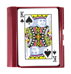 playing cards in box on white background