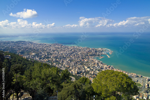 Fototapete The bay of Jounieh from Harissa Hill, Lebanon