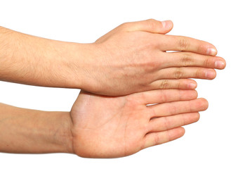 Two hands isolated over white background