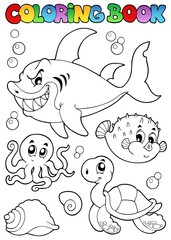 Coloring book various sea animals 1