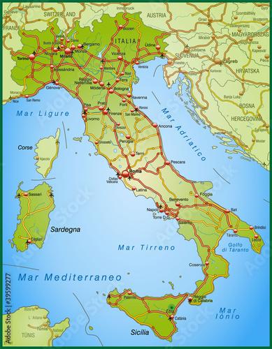 landkarte von italien mit autobahnen stockfotos und lizenzfreie vektoren auf. Black Bedroom Furniture Sets. Home Design Ideas