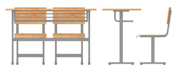 3d render of school furniture