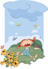 The girl on a meadow. Cartoon