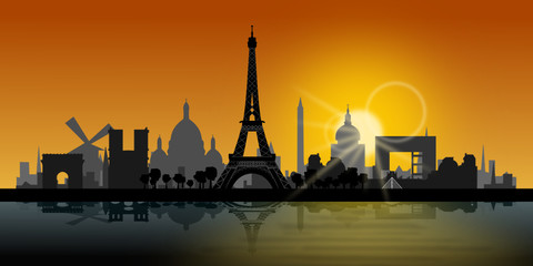 Paris Skyline Sonnenuntergang