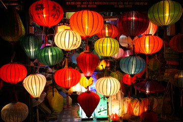 Colorful lanterns at market street,Hoi An, Vietnam