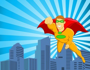 Foto op Canvas Superheroes Superhero flying over city