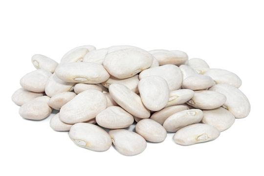 Pile Lima Bean isolated on white background.