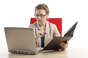 Datenüberprüfung via Labtop einer Geschäftsfrau