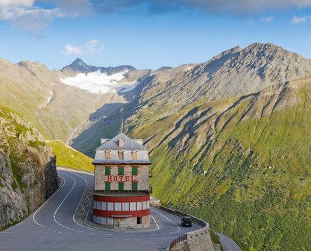 vintage hotel in alps, Switzerland
