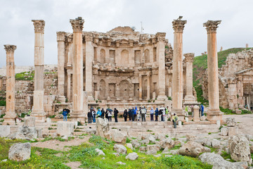 facade of Artemis temple in ancient town Jerash