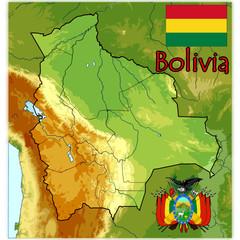 bolivia map flag emblem