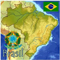 brazil south america map flag emblem