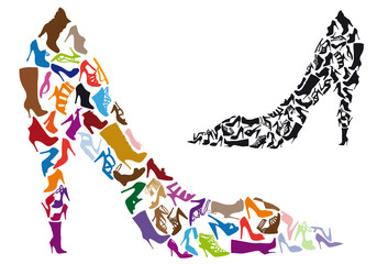 various shoe silhouettes, vector