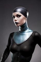 Attractive woman in latex neck corset