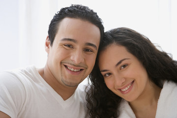 Hispanic couple smiling