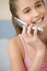 Close up of girl using cell phone
