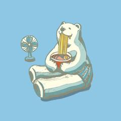 白クマがラーメン食べてるイラスト