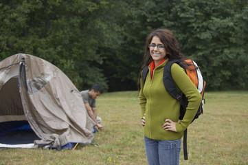 Portrait of Indian woman at campsite