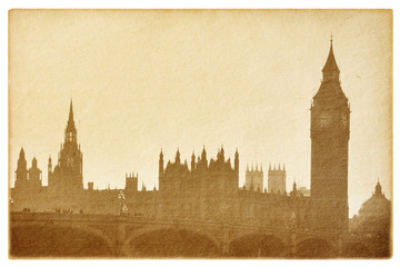 old paper  isolated on the white. Buildings of Parliament.