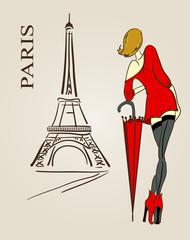 Foto op Canvas Illustratie Parijs Paris scetch