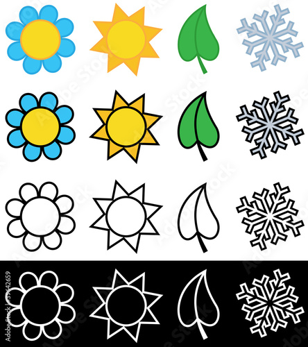 Four Seasons Symbols In Color Or Black And White Stock Image And